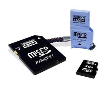 8 GB . microSDHC Memory Kit - Karta s MicroSD čítačkou + SD Adapter GOODRAM (USDR38GBNR)