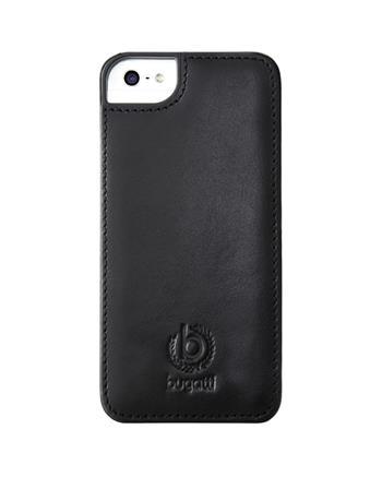 Bugatti Clip on Cover Kožený Zadní Kryt Black pro iPhone 5