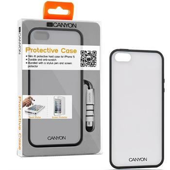 Canyon CNA-I5C01 obal pre iPhone5/5S, z TPU materiálu, vrátane stylusa a ochrannej fóliie na displej, čierne (CNA-I5C01B)
