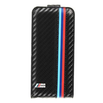 "iPhone 5, 5S BMFLP5MC BMW ""M"" Collection Carbon Flip Kožené Pouzdro (EU Blister)"