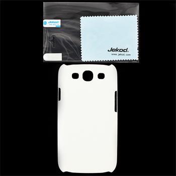 JEKOD Shield Kožený Zadní Kryt White pro Samsung i9300