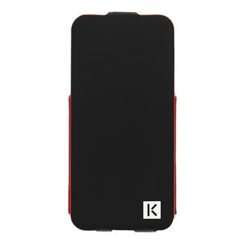 "KENZO Kožené Flip Pouzdro Metal Palte ""K"" Čierne pro iPhone 5/5S/SE"