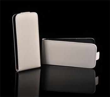 Kožené knižkové púzdro NEO slim iPhone 5/5S/SE Biele