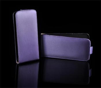 Kožené knižkové púzdro NEO slim iPhone 5/5S/SE Fialová