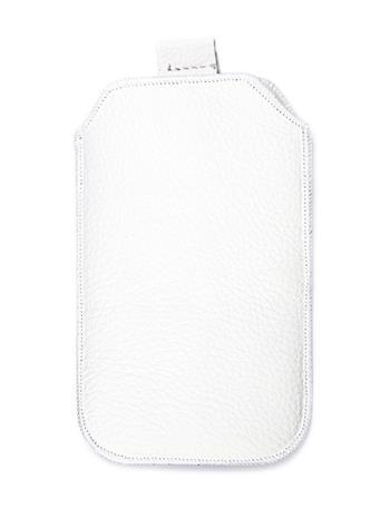 Kožené púzdro veľkosť 04 biele s pásikom pre Samsung E1052, Samsung E1202,LG A100, Nokia C5, Nokia E51, Nokia 3120, Nokia 6700, N