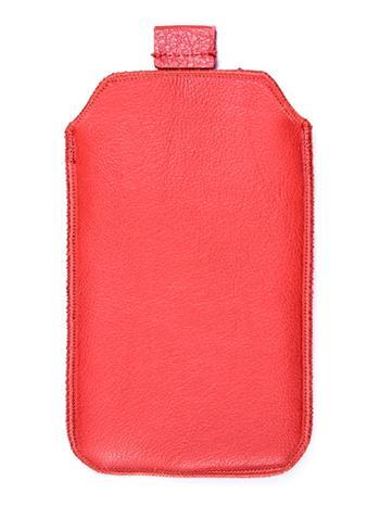 Kožené púzdro veľkosť 16 červené s pásikom pre Sam. C3530, Nokia 300, Nokia C2-01, Nokia 112, Nokia X1-01, Nokia C5, Nokia C5-03,