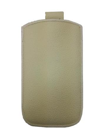 Kožené púzdro veľkosť 18 béžové s pásikom pre Sam. E2652W, Sam. C3300, SE ST15i, Sony Ericsson Mix Walkman,. ny Ericsson X8, Motor