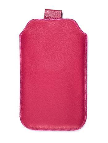 Kožené púzdro veľkosť 18 ružové s pásikom pre Sam. E2652W, Sam. C3300, SE ST15i, Sony Ericsson Mix Walkman,. ny Ericsson X8, Motor