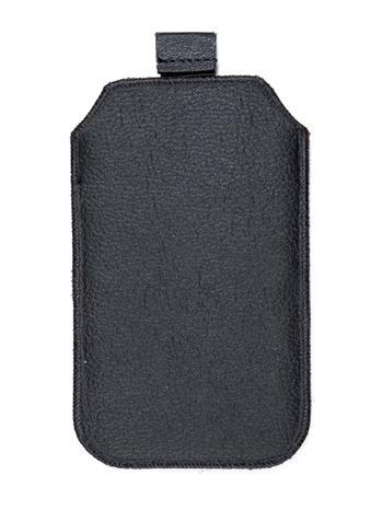Kožené púzdro veľkosť 20 čierne s pásikom pre Nokia 808, ZTE Blade III, Sam. I8530, ZTE Grand X, Nokia Lumia 710, Samsung i8190, S