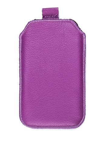 Kožené púzdro veľkosť 27 fialové s pásikom pre Samsug Galaxy S4 i9500 / i9505