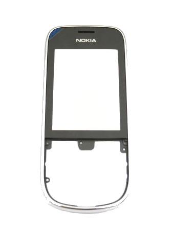 Nokia Asha 202/203 Silver Chrome Přední Kryt vč. Dotyku