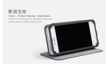 ROCK Textur Side Flip Kožené Pouzdro pro iPhone 5, 5S Dark Grey