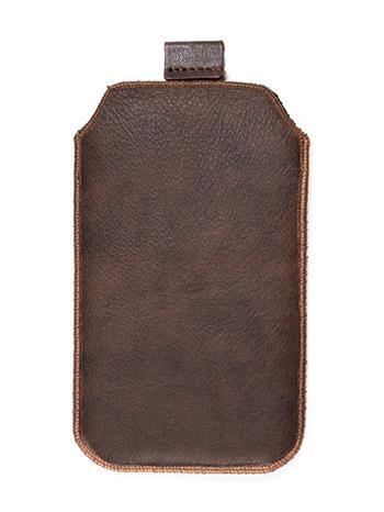 Samsung S5610, S5611, NOKIA 301, E512, Nokia 515 Pravé kožené púzdro veľkosť 28 hnedé s vyťahovacím pútkom