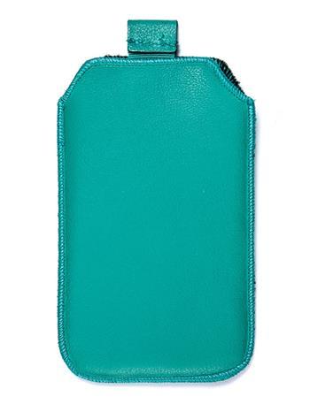 Samsung S5610, S5611, NOKIA 301, E512, Nokia 515 Pravé kožené púzdro veľkosť 28 zelené s vyťahovacím pútkom