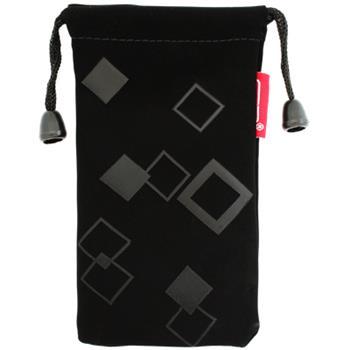 Textilné ponožkové puzdro uzatvárateľné šnúrkami, motív štvorce.